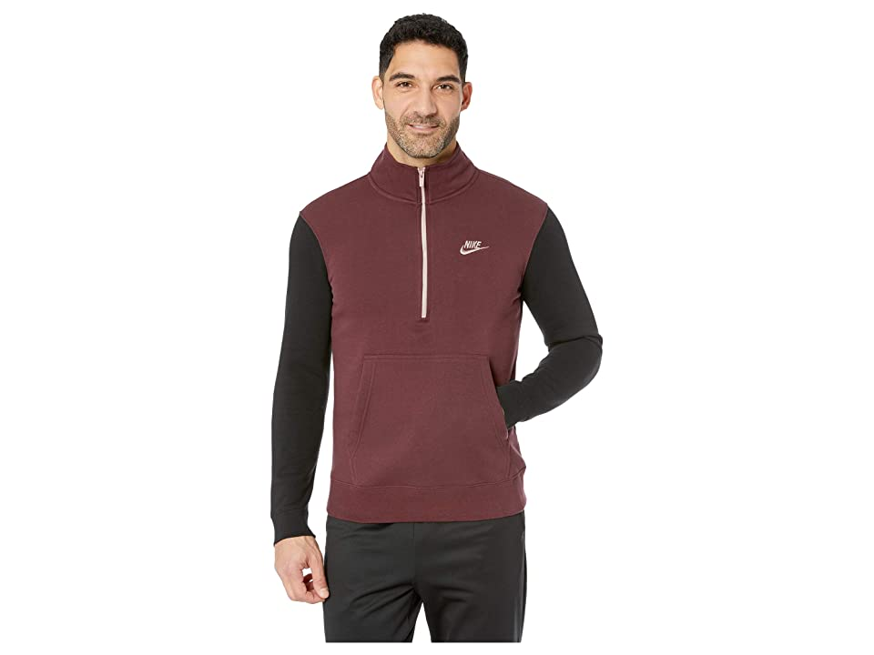 Nike NSW Club Top Long Sleeve 1/2 Zip Bb Trnd (Burgundy Crush/Black/Diffused Taupe) Men