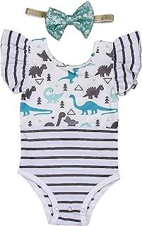 Infant Baby Girl Dinosaur Stripe Ruffle Short Sleeve Cotton Romper Bodysuit Set