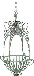 Large Wedding Flower Basket Bronze Shabby Chic Antique Vintage French Victorian LWrought Iron Hanging Basket Planter Rack Round Home Garden Patio Porch Balcony Elegant Dream NCYP