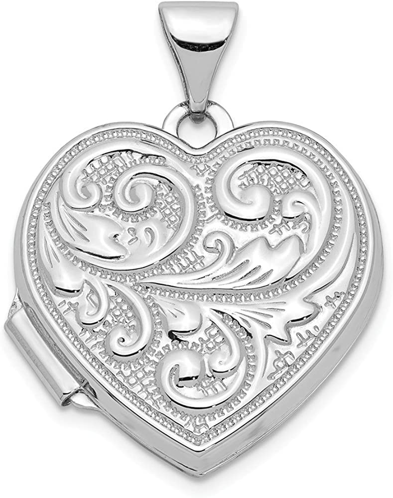 Finejewelers 14k White Gold Scrolled Love You Always Heart Locket Pendant Necklace 18 inch Chain Included