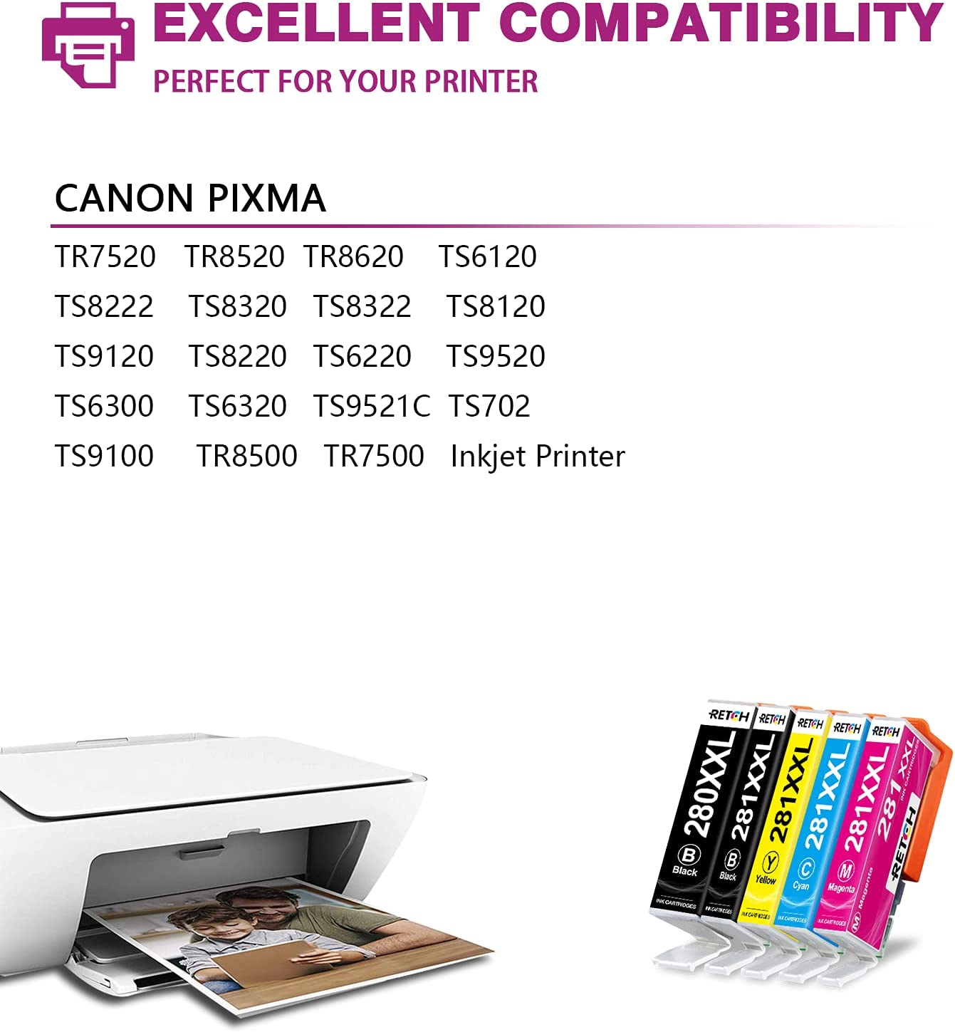 RETCH Compatible Inkjet Printer Ink Cartridges Tray Replacement for Canon 280 and 281 PGI-280XXL CLI-281XXL for PIXMA TR8520 TS8220 TR7520 TS9120 TS6120 TS6220 TS8120 TS9520 TS8320 Priter (10)