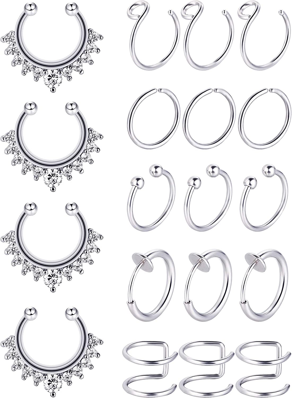 Blulu Fake Seattle Mall Nose Ring Hoop Stainless Ranking TOP4 Lip Ear Set Steel