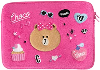 LINE FRIENDS Laptop Sleeve - Character Patch Design Tablet and Notebook Carrying Case and Cover, Pink
