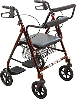 ProBasics Aluminum Rollator Walker with Seat - Rolling Walker with 6-inch Wheels - Foldable - Padded Seat and Backrest, Height Adjustable Handles, 300 Pound Weight Capacity, Burgundy