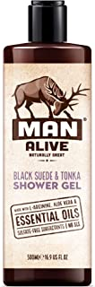 MAN ALIVE Shower Gel for men, 500ml mens body wash & face wash contains a masculine scent, Vegan, SLS Free & sulfate free formula. ideal mens grooming gifts for men (Black Suede & Tonka, Single)