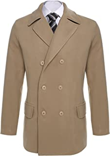 Men Trench Coat Winter Fashion Notched Collar Long Sleeve Double-Breasted Pea Coats