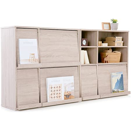 LOWYA ロウヤ ラック 本棚 フラップ扉 木製 2個セット 収納 オーク おしゃれ 新生活