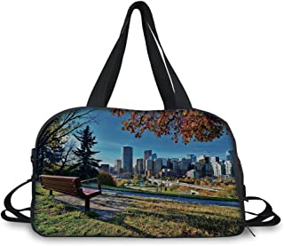 Travel Handbag,City,Park Bench Overlooking The Skyline of Calgary Alberta During Autumn Tranquil Urban,Multicolor ,Personalized
