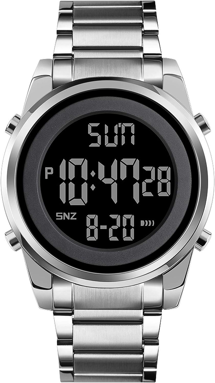 Reloj de pulsera digital para hombre, correa de acero inoxidable, elegante, cronógrafo, analógico, de cuarzo, calendario, LED, resistente al agua, moda de negocios, informal