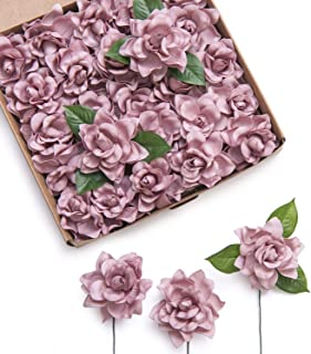 Ling's moment Artificial Flowers 25pcs Dusty Rose Gardenia Flowers w/Stem for DIY Wedding Bouquets Centerpieces Arrangements Party Baby Shower Home Decorations (Dusty Rose)