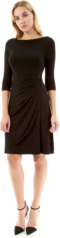 PattyBoutik Women's Boatneck 3 4 Sleeve Buckle Dress
