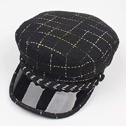 2019 Women Black and White Lattice Cap Hat Flat Top Navy Cap (Color : A, Size : Adjustable)
