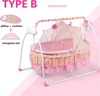 Fashion Electric Baby Crib/Baby Cradle, Electric Baby Rocker, Baby Swing Bed, Big Sp100*55cm (Type B, Pink)