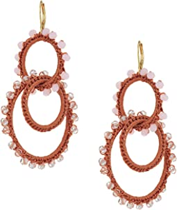 Thread Wrapped Interlocking Hoop Earrings