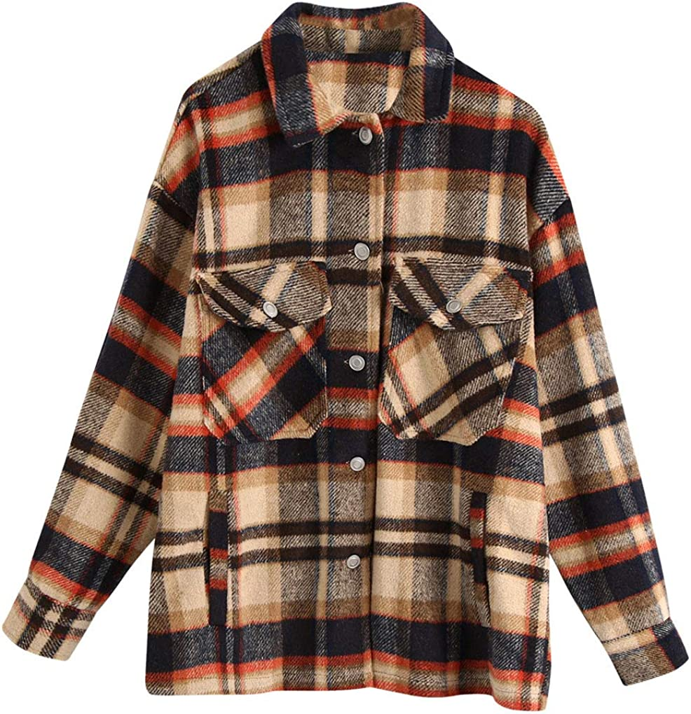 ebossy Women's Vintage Oversized Button Wool Max 67% OFF Sh Blend 4 years warranty Plaid Down