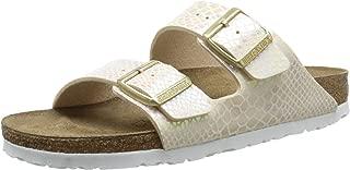 Birkenstock Women's Arizona Shiny Snake Narrow Fit Sandal Cream