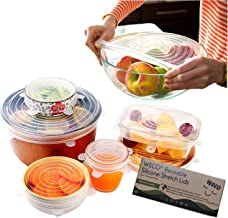 Silicone Stretch Lids 6 Pack (Clear) By A Thousand Trees | 6 Sizes Reusable, Expandable and Durable Lids to Keep Food Fres...