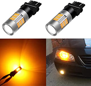 Alla Lighting Super Bright LED 3157 Bulb High Power 4014-SMD 4157 3457 3156 3057 3157 LED Bulb 3457A 4157NA 3157A Amber Yellow LED Turn Signal Blinker Light Bulbs Lamp (Set of 2)