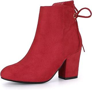 Allegra K Women`s Round Toe Block Heel Zipper Lace Up Ankle Boots