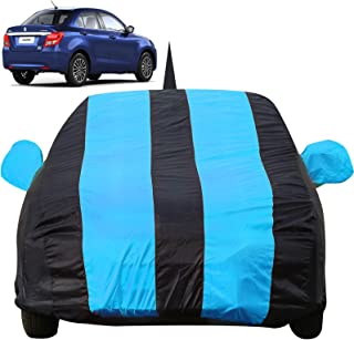 Autofact Car Body Cover for Maruti Swift Dzire (2017 to 2019) with Mirror and Antenna Pocket (Light Weight, Triple Stitched, Heavy Buckle, Bottom Fully Elastic, Teak Blue Stripes with Navy Blue Color )