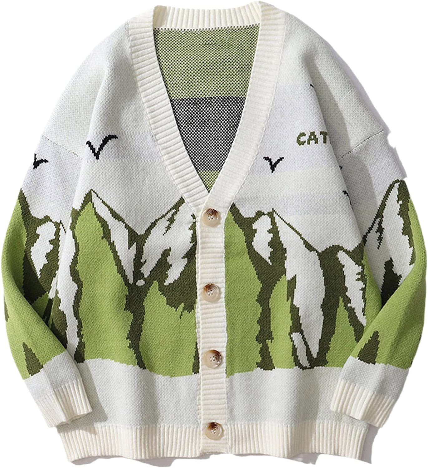 Men Mountains Graphic Knitted Sweater Cardigan Women Color Contrast Vintage Sweater