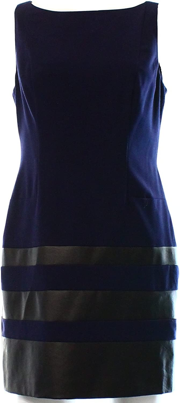 Ralph Lauren Women's Sleeveless Faux Leather Trim Dress