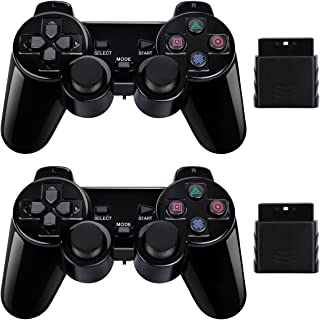 2 Pack Wireless Controller 2.4G Compatible with Sony Playstation 2 PS2 (Jet Black)