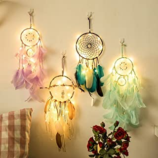 Qukueoy Light Up Dream Catchers for Bedroom Wall Hanging Decorations, LED Dreamcatcher Home Ornaments with 20 LED Lights,Fantasy Gifts for Kids, Caught Your Dream (Dark Green)