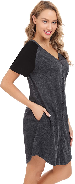 Aiboria Cotton Nightgowns for Women Sleeveless Nightshirts Sleepwear Soft Loungewear Summer Slip Night Dress