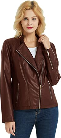 PANAPA Women's Premium Faux Leather Jacket, PU Jacket