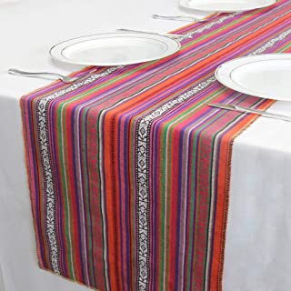 TRLYC Pack of 5 Mexican Party Table Runners Wedding Table Runners for Table Modern Cotton Rainbow Runners for Wedding Decoration 275CMX35CM,14