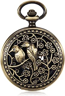 Bronze Branch Double Bird Hollow Flower Mechanical Pocket Watch Fashion Gold Word Roman Face Hollow Back Pocket Watch A Nice Gift Vintage Pocket Watch