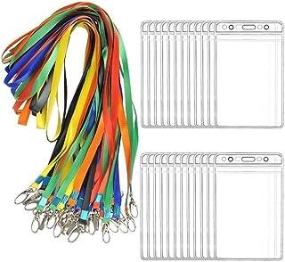 BUYGOO 24 Pièces Badge D'identification Vertical PVC Souple Transparent Titulaires de Carte D'identité Décolleté pour Expo...