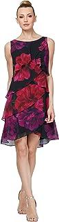 S.L. Fashions فستان شيفون مطبوع عليه زهور