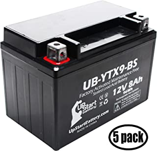 5-Pack Replacement for 2011 SYM HD200 200CC Factory Activated, Maintenance Free, Scooter Battery - 12V, 8Ah, UB-YTX9-BS