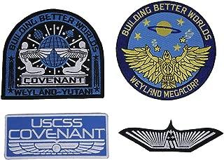 Covenant Weyland USCM Yutani Marines Nostromo Aliens Patch Set of 4