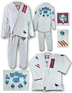 Lucky Gi Great BJJ GI, Miami Vice Gi White, Martial Arts Uniform, Matching Gi Bag, 550 Bamboo Blend Micro Pearl Weave, Light Weight, Flexible, Preshrunk
