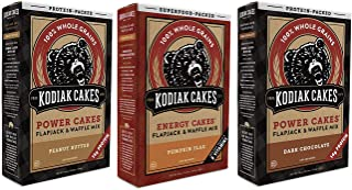 Kodiak Cakes Protein Pancake Power Cakes Crunchy Peanut Butter, Dark Chocolate, Pumpkin Flax Flapjack and Waffle Baking Mix, Buttermilk, 20 Ounce (3-Pack) - The Top 3 Favorites in One Bundle!