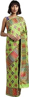 Indian Saree for Women Ethnic Sari Light Green Ikkat Art Silk Sari with Unstitched Blouse. ICW2778-1