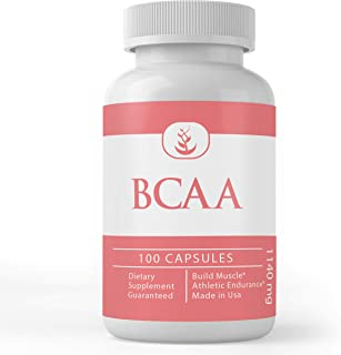 BCAA (100 Capsules, 1200 mg Servings), Easy On-The-Go Packaging, Boost Pre-Workout Intensity & Muscle Growth, Non-GMO, Glu...