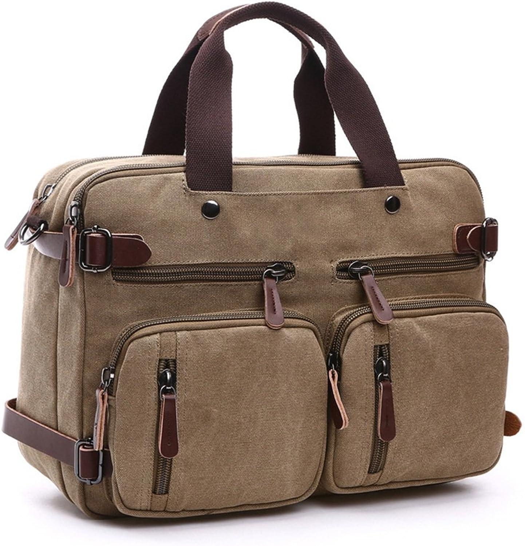 Business Briefcase Outdoor Congreenible Rucksack School Shoulder Handbag Tote Bag for Men Women (color   Khaki, Size   17 inch)