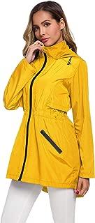 ZHENWEI Womens Lightweight Raincoat Hooded Windbreaker Jacket Foldable Packable