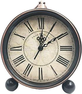 "JUSTUP 5.2"" Classic Retro Clock, European Style Vintage Silent Desk Alarm Clock Non Ticking Quartz Movement Battery Operated, HD Glass Lens, Easy to Read (SZ03)"