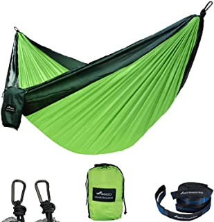 Geezo Camping Hammock, Lightweight Portable Single&Double Hammocks Parachute for Backpacking, Camping, Travel, Beach, Garden (Dark Green/Fruit Green)