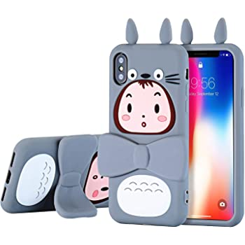 """TopSZ Totoro Case for iPhone Xs Max 6.5"""",Silicone Kickstand 3D Cartoon Animal Rotatable Stand Cover,Kids Girls Teens Boys Cool Fun Cute Kawaii Soft Rubber Funny Unique Character Cases for iPhoneXs Max"""