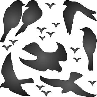 Bird Stencil - 11.5 x 11.5cm (S) - Reusable Silhouette Love Birds in Flight Perched Wall Stencil Template
