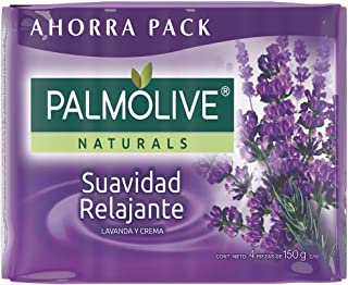 Jabon Palmolive Naturals Suavidad Relajante 4 Pack 150 g / 5.29 oz Soap Bars lavender and cream Classic Bathing Natural Mexican smooth soothing gentle scent foaming shower bath choose lavanda y crema