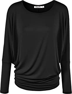 Women' s Flowy and Comfort Draped Long Sleeve Batwing Dolman top S-3XL Plus Size_Made in U.S.A.