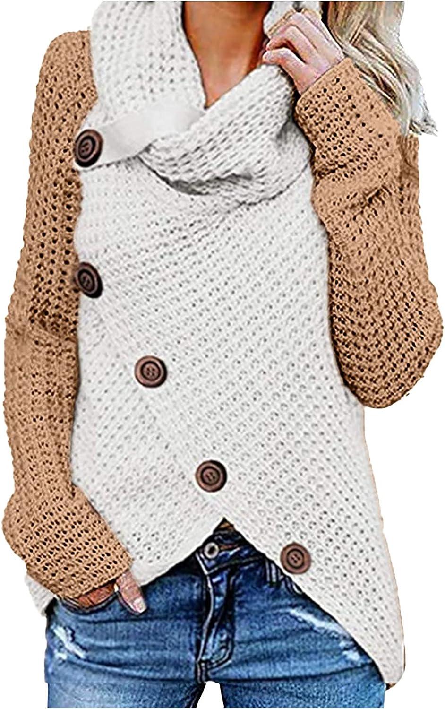 Autumn Winter Tops for Women Long Sleeve Button Down Irregular Knit Sweater