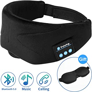Bluetooth Sleep Mask Sleep Headphones with 3D Stereo Sound, Unimi Bluetooth 5.0 Wireless Headphones Music Travel Eye Mask with Build-in Microphone, Total Block Out & HD Stereo.
